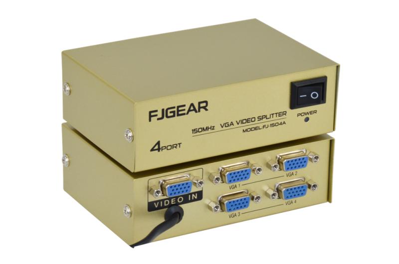 Сплиттер VGA KV-FJ1504A Splitter, Коммутатор 150MHz 4 Port Четыре порта с адаптером разветвитель VGA