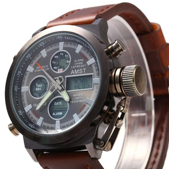 Мужские Наручные армейские часы AMST Sport Brown Watch AM3003 Кварцевые Quartz коричневые
