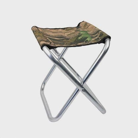 Складной алюминиевый рыбацкий стул без спинки 35x30x50 см большой камуфляж
