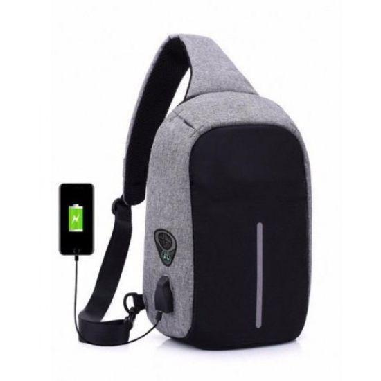 Мужская сумка анти-вор через плечо Bobby Mini с USB-портом для зарядки