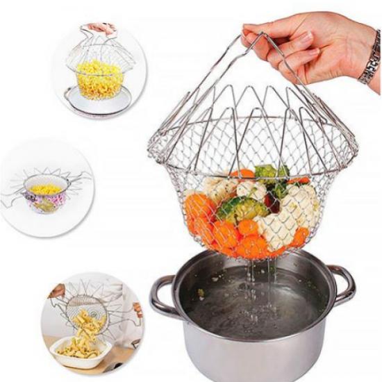 Складной дуршлаг Magic Kitchen Deluxe Chef Basket, складная решетка для сушки Шеф Баскет