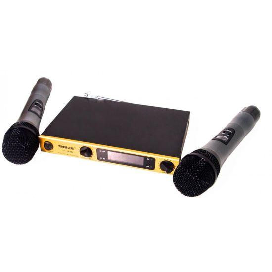 Ручной беспроводной радиомикрофон Shure SH-588D, профессиональная радио система база с двумя беспроводными мик