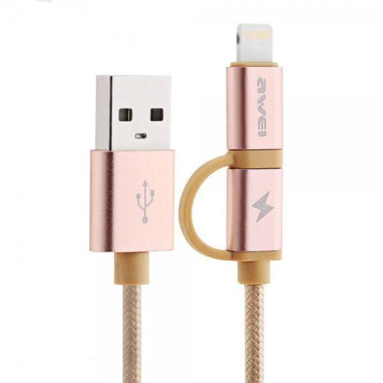 Кабель, шнур Awei CL-930C 2 в 1 Lightning и Micro USB, розовый