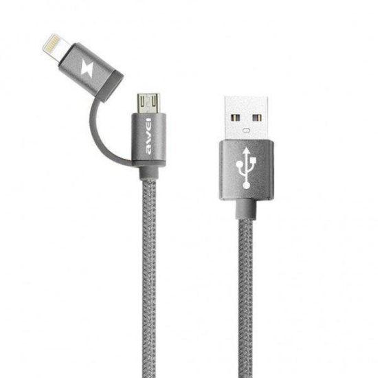 Кабель, шнур Awei CL-930C 2 в 1 Lightning и Micro USB, серебристый