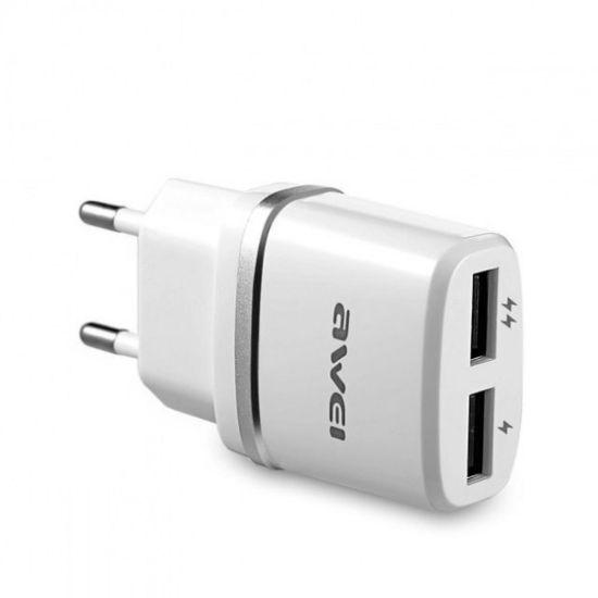 USB Сетевой адаптер Awei C-930 на  2 USB 5V, 2.1A от сети 220V