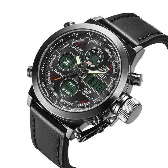 Мужские Наручные армейские часы AMST Sport Black Watch AM3003 Кварцевые Quartz черные