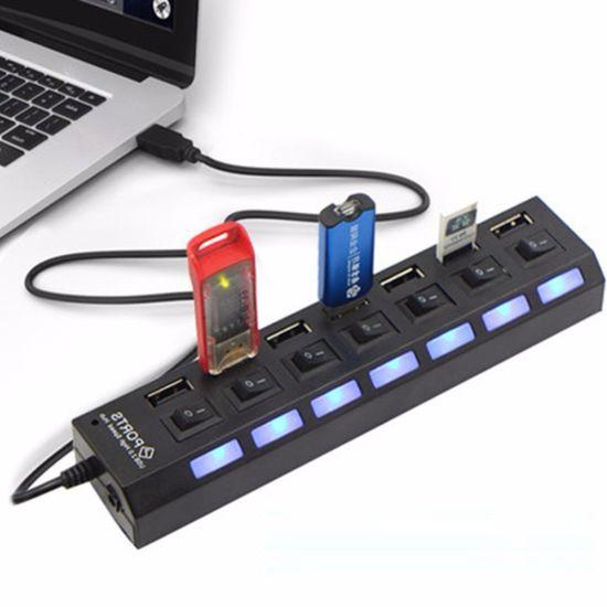 USB хаб Memos 7SW на 7 портов USB 2.0 Black, разветвитель с кнопками on off Черный