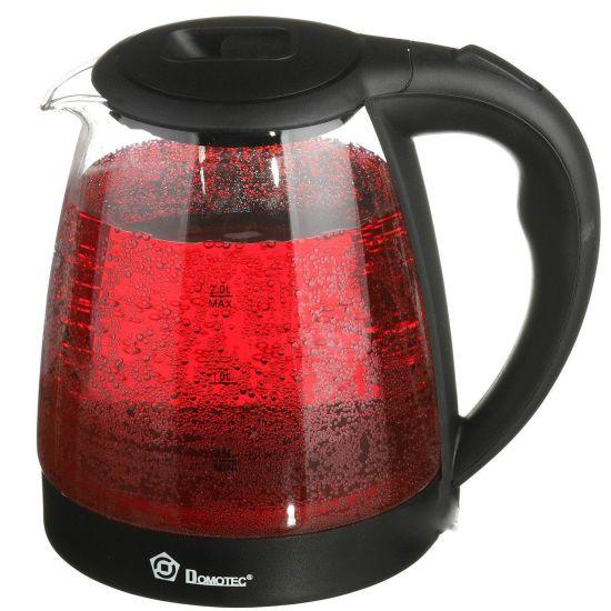 Стеклянный электрочайник Domotec MS-8210 Black 2200W 2.2 л, чайник электрический с цветной RGB подсветкой