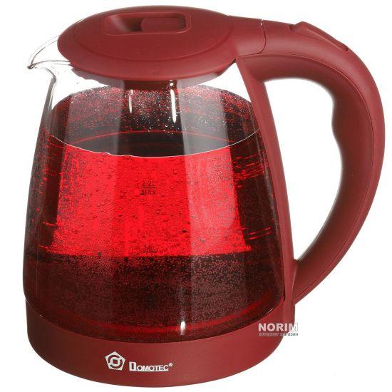 Стеклянный электрочайник Domotec MS-8213 Red 2200W 2.2 л, чайник электрический с цветной RGB подсветкой