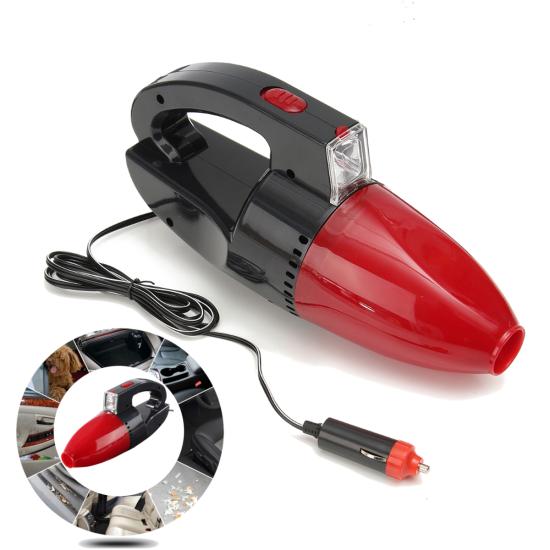Автомобильный мини пылесос Kioki Car Vacuum Cleaner Red 12V 130W с фонарем работает от прикуривателя Красный
