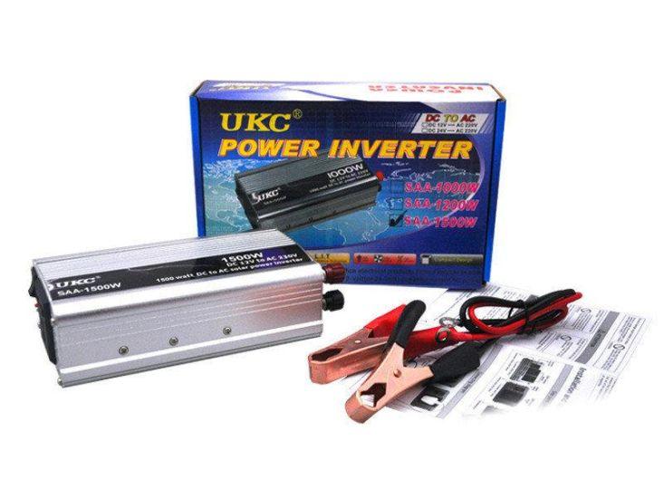 Автомобильный преобразователь напряжения UKC SAA-1500W 12V-230V 1500W авто инвертор в коробке