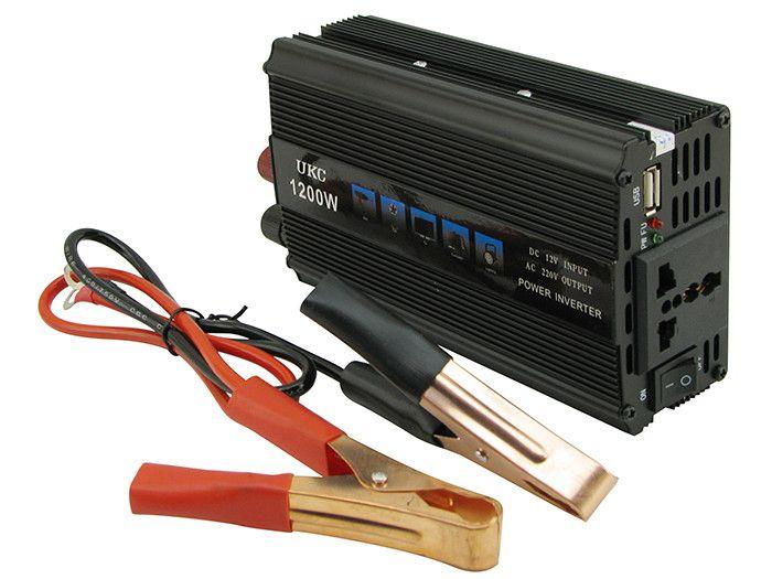 Автомобильный инвертор UKC SSK 1200W преобразователь напряжения, 12В 220В 1200Вт