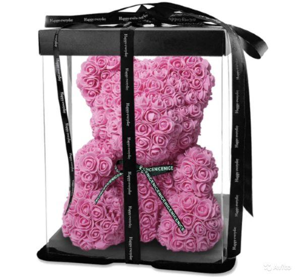 Маленький мишка из искусственных 3D роз Teddy Bear de Luxe 25 см Pink, Светло розовый медведь Тедди