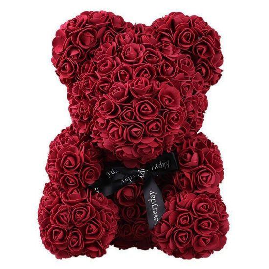 Маленький мишка из искусственных 3D роз Teddy Bear de Luxe 25 см Burgundy, бордовый медведь Тедди