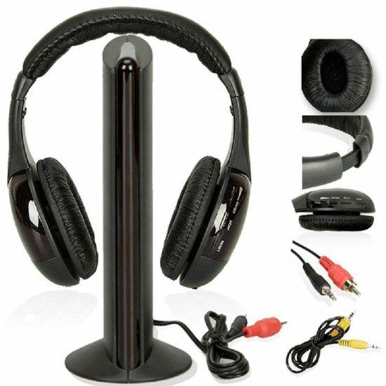 Наушники с микрофоном беспроводные 5 в 1 MH2001 Black + FM радио Wireless,  mp3 pc tv,