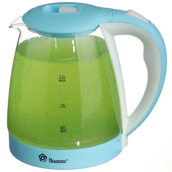 Стеклянный электрочайник Domotec MS-8214 Sky Blue 2200W 2.2 л, чайник электрический с цветной RGB подсветкой