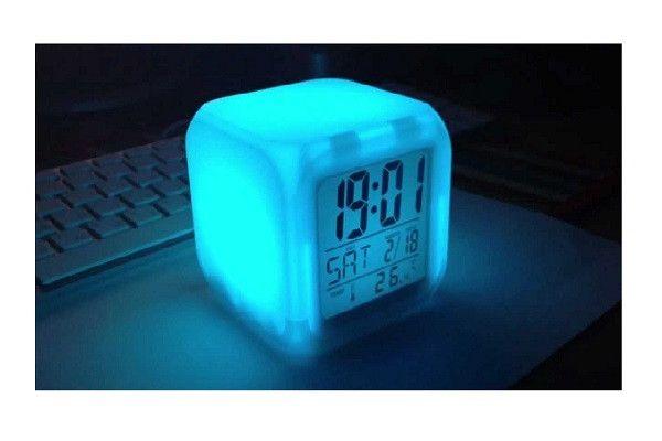 Светодиодные часы, c термометром будильник ночник Hello Kitty, часы хамелеон, светящиеся, CX-508