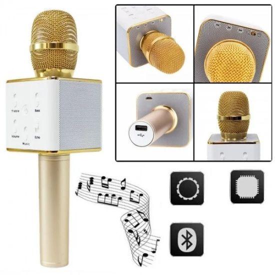 Беспроводной микрофон караоке bluetooth Q7 Gold Золотой