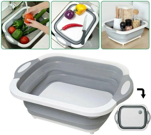 Складная разделочная доска Chopping Board 4 в 1 для мытья и резки овощей с сливным отверстием миска Chopper