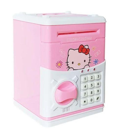 Детская электронная копилка сейф Hello Kitty с купюроприемником, электросейф для денег кодовым замком розовая
