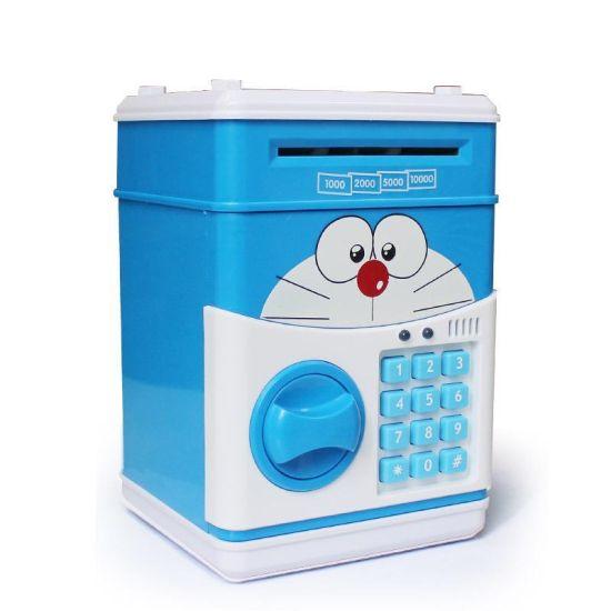 Детская электронная копилка сейф CatDoraemon с купюроприемником, электросейф для денег кодовым замком синяя