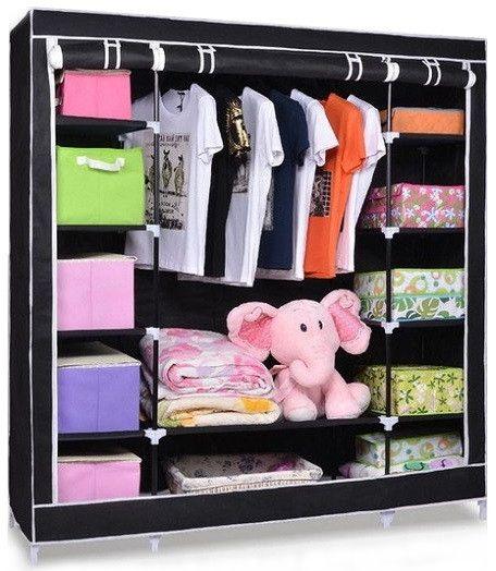 Складной тканевый шкаф для одежды HCX-153NT на 3 секции 130х45х170 см тройной каркасный для вещей