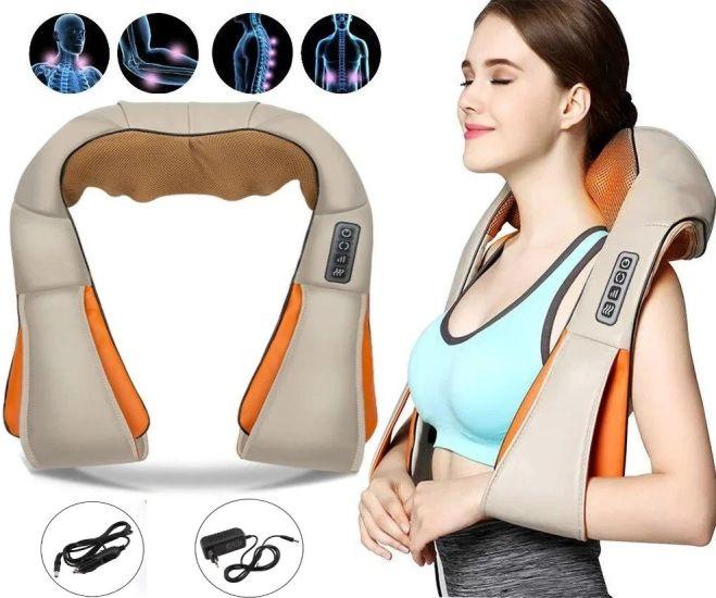 Роликовый массажер для шеи, плеч и спины Massager of Neck Kneading с прогревом и пультом, шиацу