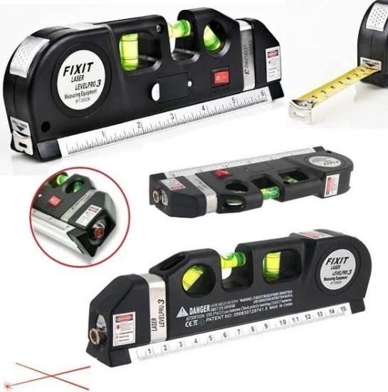 Лазерный уровень FIXIT Laser Levelpro 3 лазерная линейка со встроенной рулеткой 2,5 метра