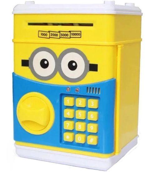 Детская электронная копилка сейф Minion с купюроприемником, электросейф для денег кодовым замком желтая Миньон