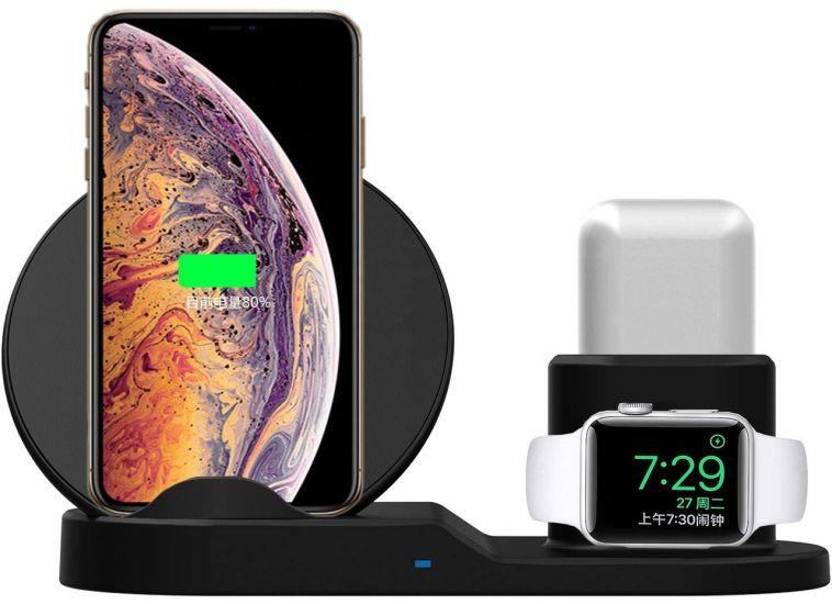 Беспроводное зарядное устройство для Apple 3 в 1 беспроводная Док-станция для часов Smart Watch, телефона