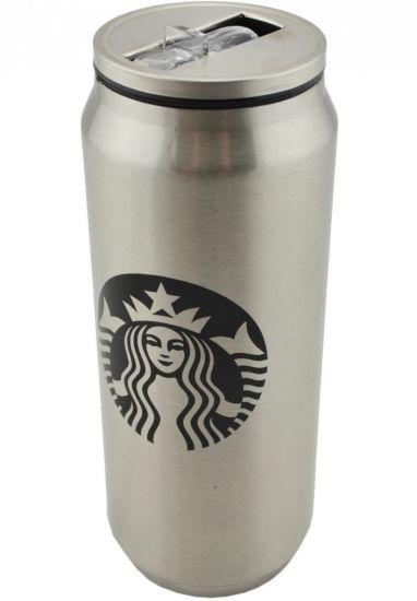 Металлическая термокружка Starbucks 450мл Старбакс PTKL-360 банка с трубочкой