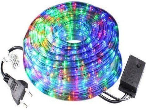 Светодиодная цветная лента, гирлянда Дюралайт в прозрачном шланге 3528 10м c RGB контролером на 220V, неон
