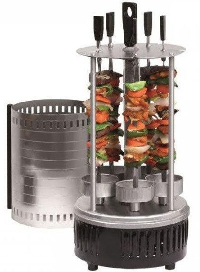 Вертикальная шашлычница электрическая BBQ WX-8601 1000W на 5шампуров Black электрошашлычница черная