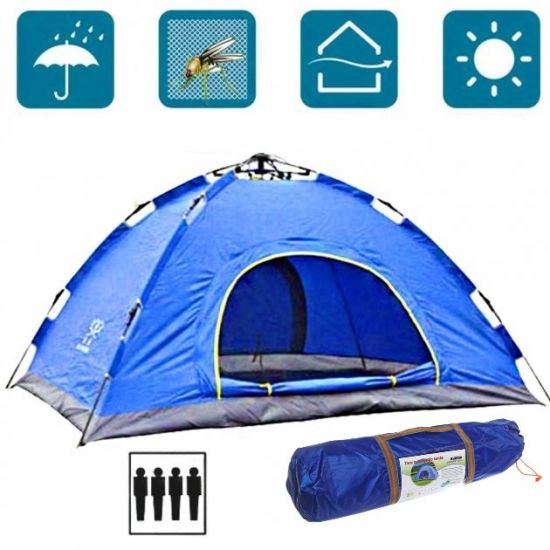 Палатка автоматическая Leomax LX-1401 4-х местная Синяя 200x200x135 см туристическая, автомат, четырех местная
