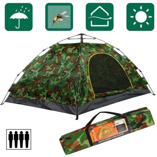 Палатка автоматическая Leomax LX-1403 4-х местная Камуфляжная 200x200x135 см, автомат, хаки, четырех местная