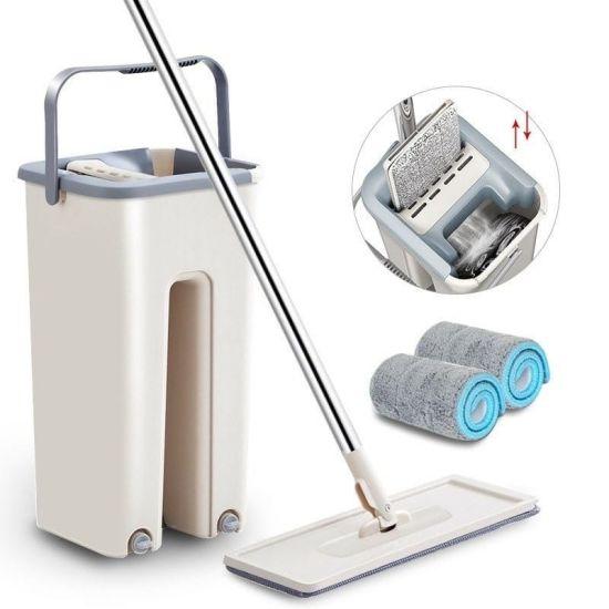Швабра лентяйка Supretto Scratch Cleaning Mop с большим ведром и автоматическим отжимом, большая с самоотжимом